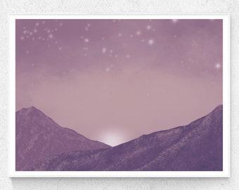 City of stars over misty mountains at sunrise, Printable Art, Purple Pink illustration for minimal decor