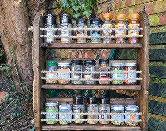 Wooden 3 shelf Spice Rack, Wall Mounted Kitchen Storage for Herbs and Spices, Rustic Reclaimed Wood, 2 sizes and 5 finishes to choose from