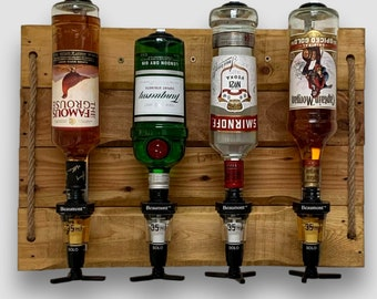 Home Optics Wall Bar Rustic Reclaimed Wood for Spirits display and serving - Beaumont 35ml measure - Natural Rope feature - Various finishes