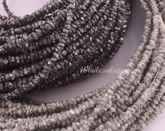 24 Vintage Strands Glass Pearl Bead Gunmetal Gray Tiny Beads Hollow Lightweight Antique Style Tiny Seed Mini Silver Grey Hank Hanks 3.5 mm