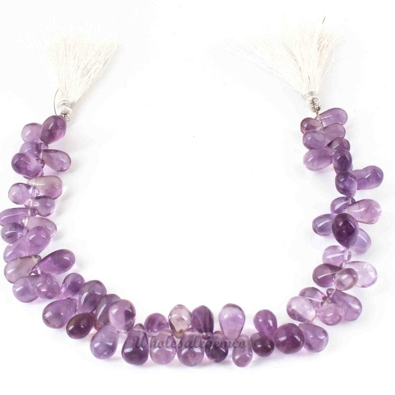 9.5 Inches 14mmx7mm-6mmx4mm Gemstone Briolettes GB727 Smooth Tear Shape Beads 1 Strand Pink Amethyst Briolette