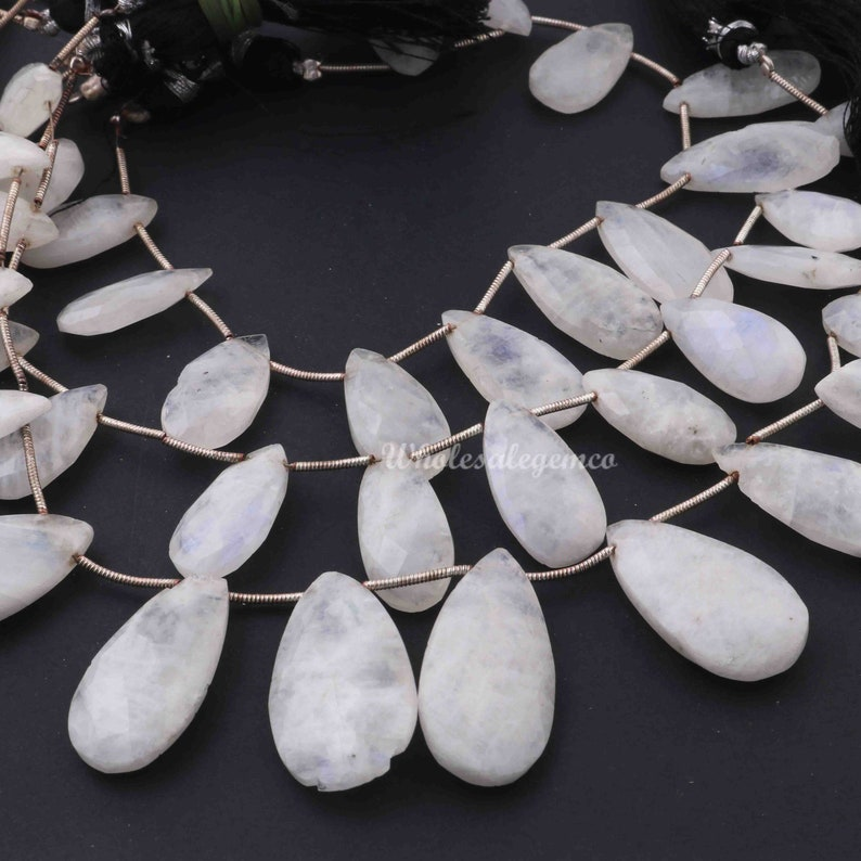 Pear Shape Faceted Beads 1 Strand Rainbow Moonstone Briolette GB499 Moonstone Beads  9 Inches 30mmx16mm-20mmx10mm Gemstone Briolettes