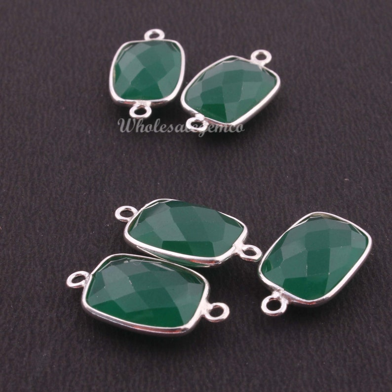 Rectangle Shape 18mmx11mm-21mmx11mm BS001 925 Sterling Silver Jewelry 5 Pcs Green Onyx Gemstone Pendant /& Connector
