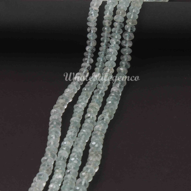 Gemstone Briolettes GB542 13.5 Inches 1 Strand Aqua Chalcedony Rondelle Shape Faceted Beads 5mm Beads