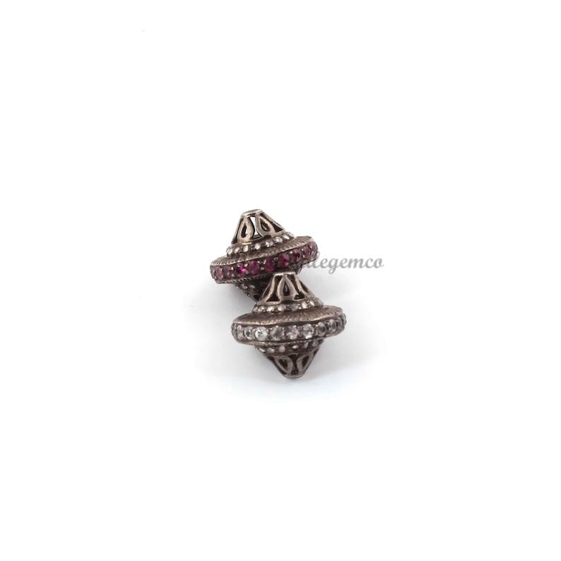 DJ332 925 Sterling Silver Beads-  13mm Pave Diamond Jewelry Designer  Beads 1 Pc Pave Diamond Cone Shape Beads