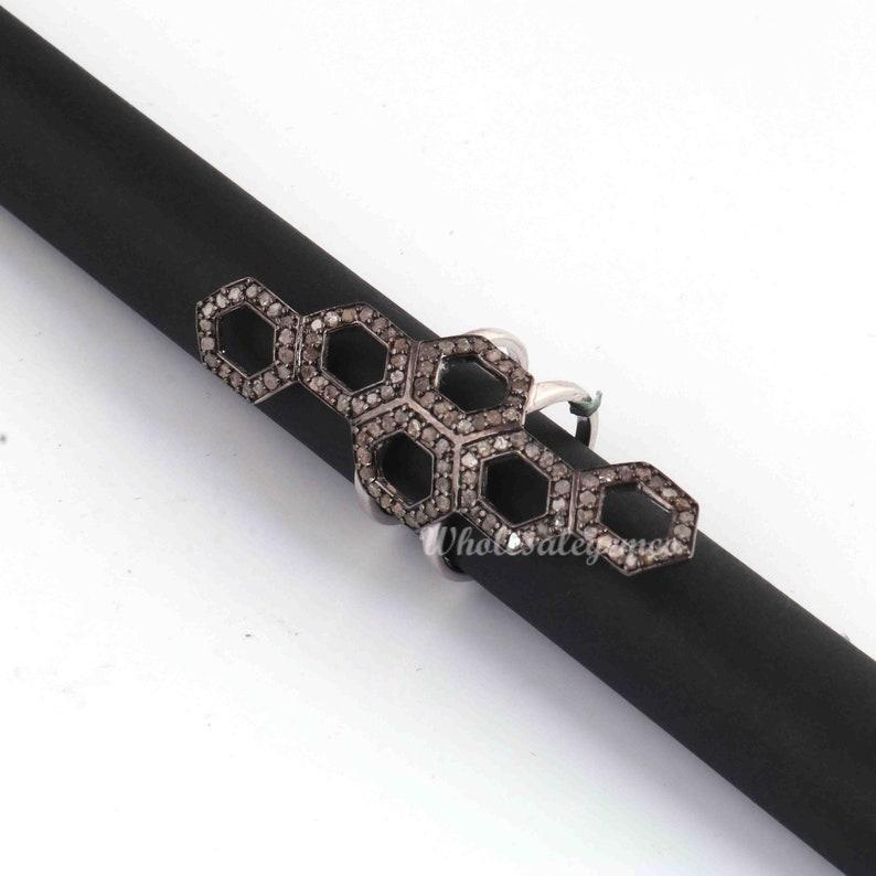 Hexagon Designer Ring 925 Sterling Silver, Gift For Her WG071 Diamond Ring 1 Pc Pave Diamond Gemstone Ring Ring Size- 6.5