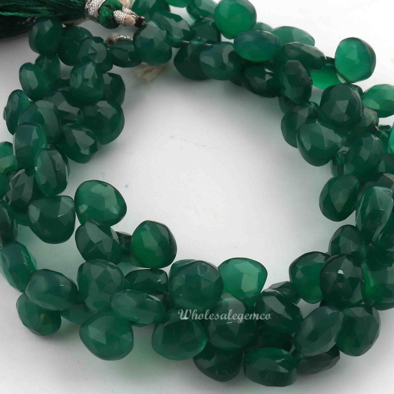 7-9 mm approx size Green Onyx Heart Faceted Briolettes 1 strand 8 inch strand