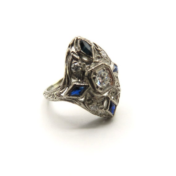 Art Deco diamond and sapphire shield ring, antique
