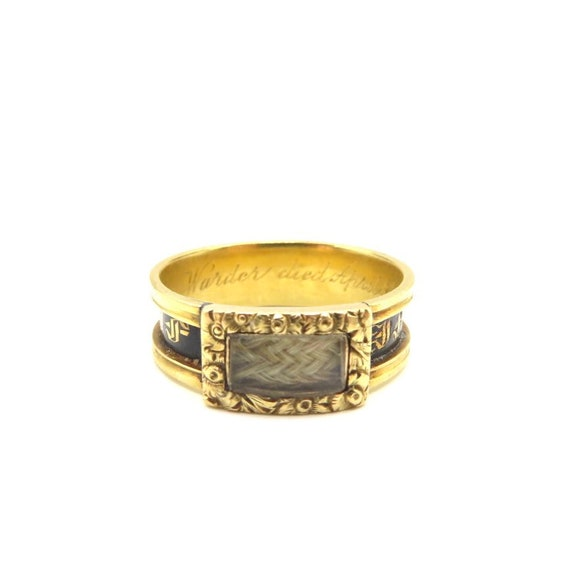 Victorian antique enamel hairwork mourning ring, a