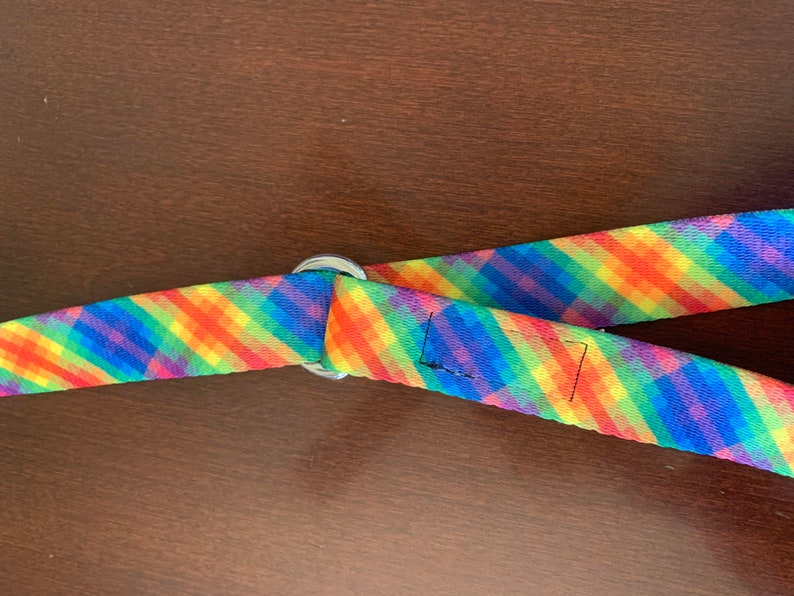 Roller skate leash  carrying strap Rainbow plaid