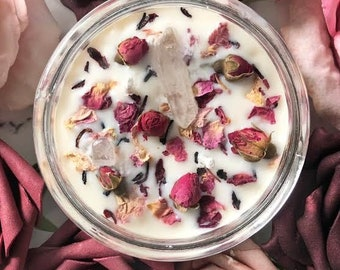Positive Energy Candle - Crystal Candle - Aromatherapy Candle - Good Vibes- Clear Quartz crystal candle - rose petals- rose buds- mom gift