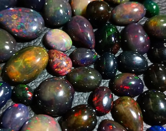 Details about  /Ethiopian Opal Black Cabochon Welo Fire Opal For Making Ring Black Cabochon