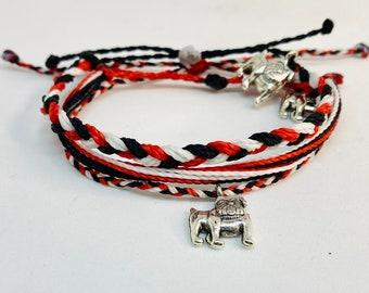 Bulldog Charm w Custom Braided Pura Vida Style Bracelet or Anklet