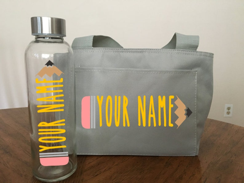Custom Teacher or Student Lunchbox and Water bottle Pencil image 1