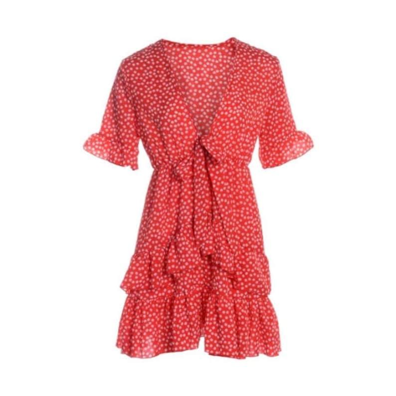 New Women/'s Summer Beach Short-Sleeve Casual Boho Floral Ruffle Dress V-Neck Party Short Mini Skirt Clothing For Woman
