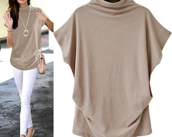 Brand New Women's Turtleneck Short Sleeve Casual Tees Tops Blouse Work Clothes Clothings