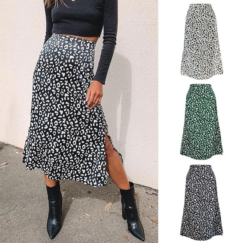 Brand New Women/'s Leopard Print Chiffon Skirt Dress With Side Split Opening For Females Girls Casual Skirts Dresses