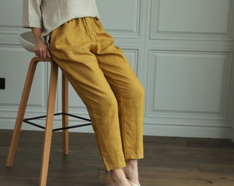 Tapered linen pants/ SOHO trousers/ linen pants with drawstring waist/Classic linen pants/Washed linen pants/Tapered pants/Slack linen pants