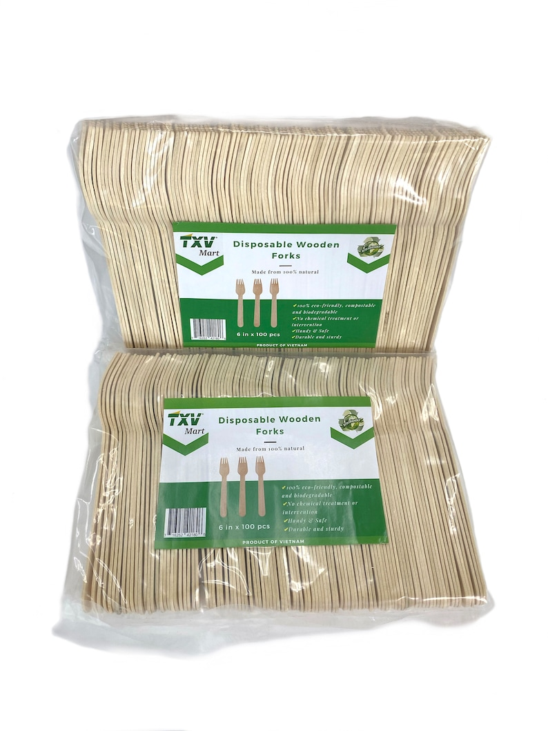 Pack of 100 Biodegradable and Compostable TXV Mart Eco-Friendly Disposable Party Cutlery Wooden Forks 6in 100/% Natural