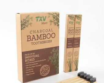 TXV Mart | Eco-friendly Natural Charcoal Bamboo Toothbrush | BPA Free Biodegradable Handle (Pack of 10 individual boxes)