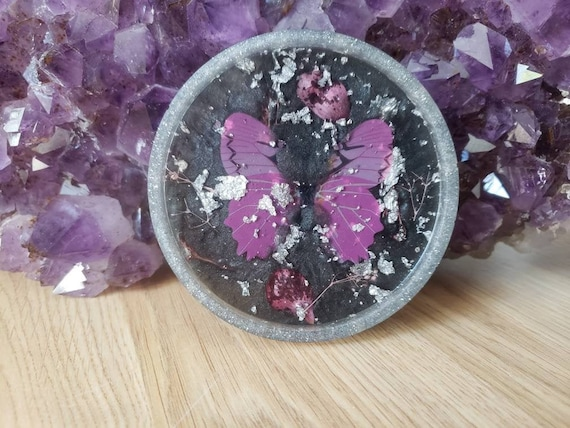 change and jewelry Amethyst purple /& rose gold rimmed handmade ring resin dish for trinkets