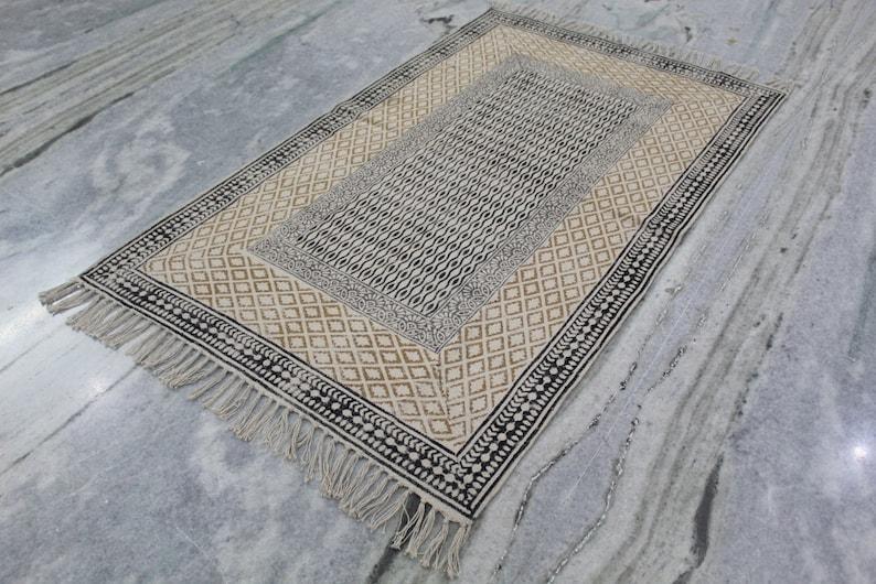 Hand Block Print Rug 3X5 Area Rug Bohemain Rug Navajo Kilim Rug Outdoor  Indoor Kitchen  Living Room  Rug