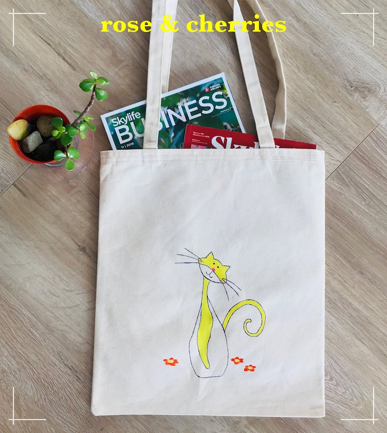 Hand Printed Cats Birthday Gifts Purple Cats Themed Gifts Arts Hand Painted Yellow Cat Design Canvas Tote Bags Handmade Gifts for Women
