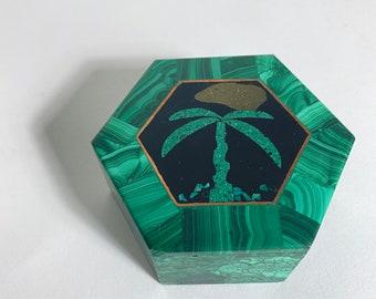Vintage Malachite Box with Chip Inlay Palm Tree - Semi-Precious Stone Trinket Jewelry Box