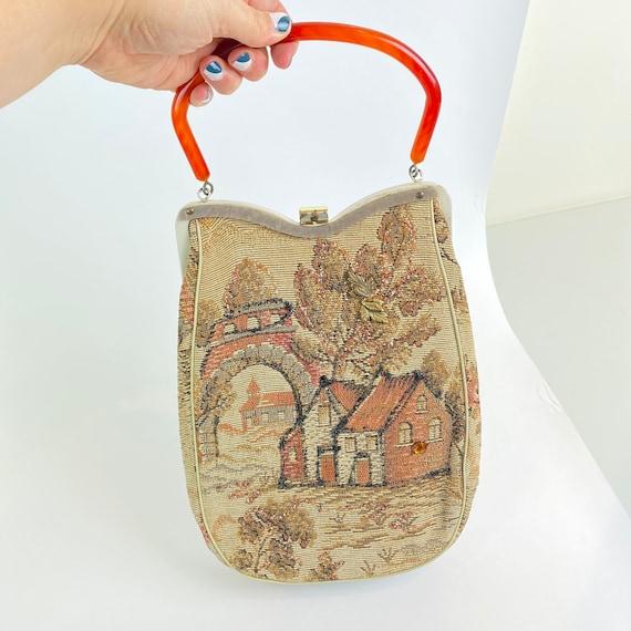 Vintage Tapestry Purse - Village Scene - Lucite To
