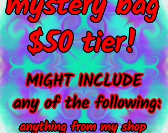 Mystery Grab Bag - 50 Dollar Tier - coasters, art, keychains, small items, earrings, jewelry, stickers and more!