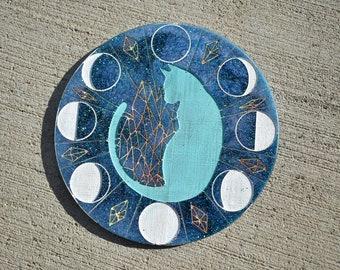 CUSTOM Lunar Cat Resin Art, Moon phase Cat, Lunar Crystal Cat, Moon phase kitty Moon Crystal Kitty, Lunar Crystal Kitty, Custom Painted cat