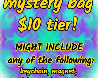 Mystery Grab Bag - 10 Dollar Tier - keychains, small items, earrings, jewelry, stickers and more!