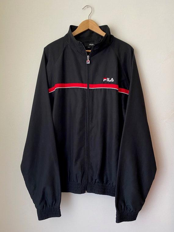 FILA (XL) Black sports jacket, embroidered logo, r