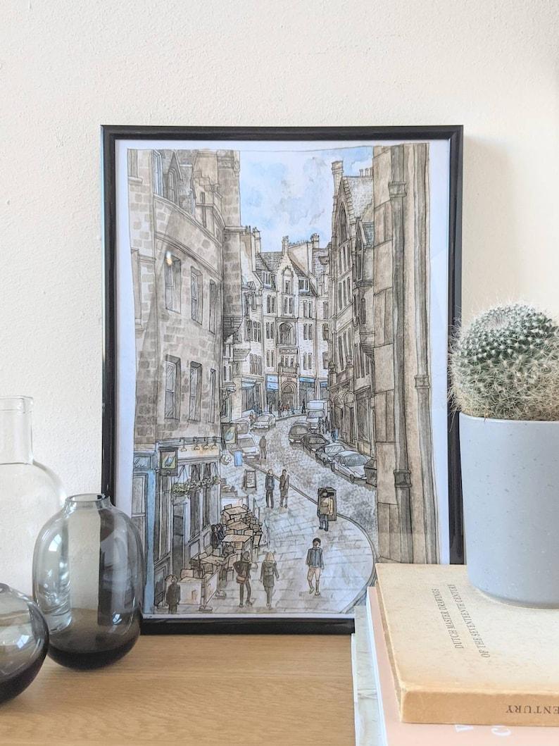 Cockburn Street Edinburgh Watercolour Print