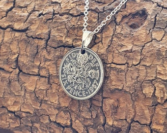 Sixpence Coin Necklace ~ Vintage Sterling Silver ~ Sustainable Jewellery ~ Lucky Charm ~ Layering ~ Wedding Tradition ~ British Gift Present