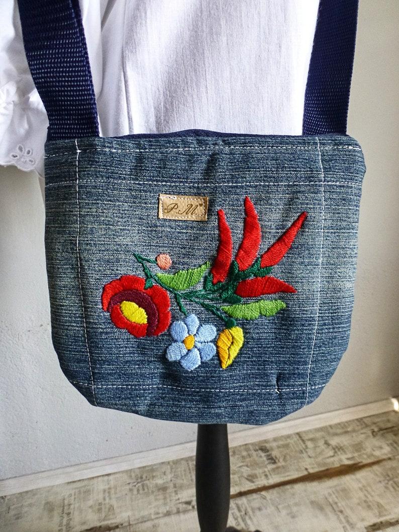 Hungarian Traditional Kalocsa Crossbody bag,Denim bag,Floral handembroidered bag