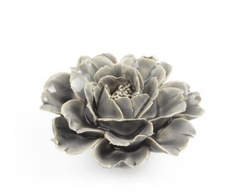 Flash Sale Indoor or Outdoor Wall decor Small hand made ceramic wall flower  Rose Grey Flower perfect for Mothers day
