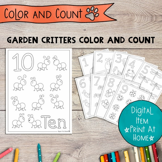 Color And Count Numbers Coloring Pages Garden Critters 1 10 Etsy