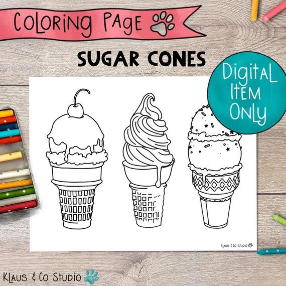 Ice Cream Sugar Cones Coloring Page / Printable