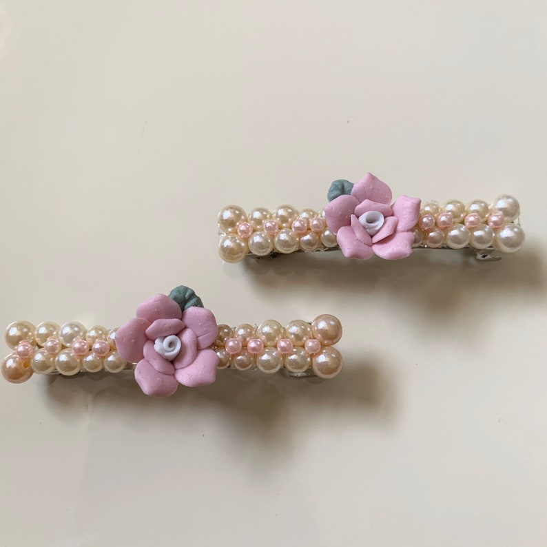 Soft Pink Pearl Floral Hair Barrette Limited Supply