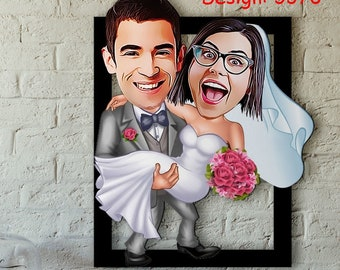 Personalized Married Couple Cartoon Wooden Wall Art, Caricature Portrait, Married Couple, Couples Portrait, Wedding Gift, Anniversary Gift