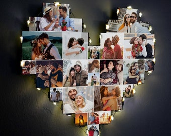 Picture Frame For Wall, Photo Frame Multiple Photos, Photo Collage Frame, Wooden Photo Frame With Led Light And Latch, Lighted Photo Frame