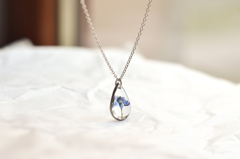 forget me not necklace silver miscarriage necklace Forget me not necklace botanical jewelry necklace Mothers Day necklace silver