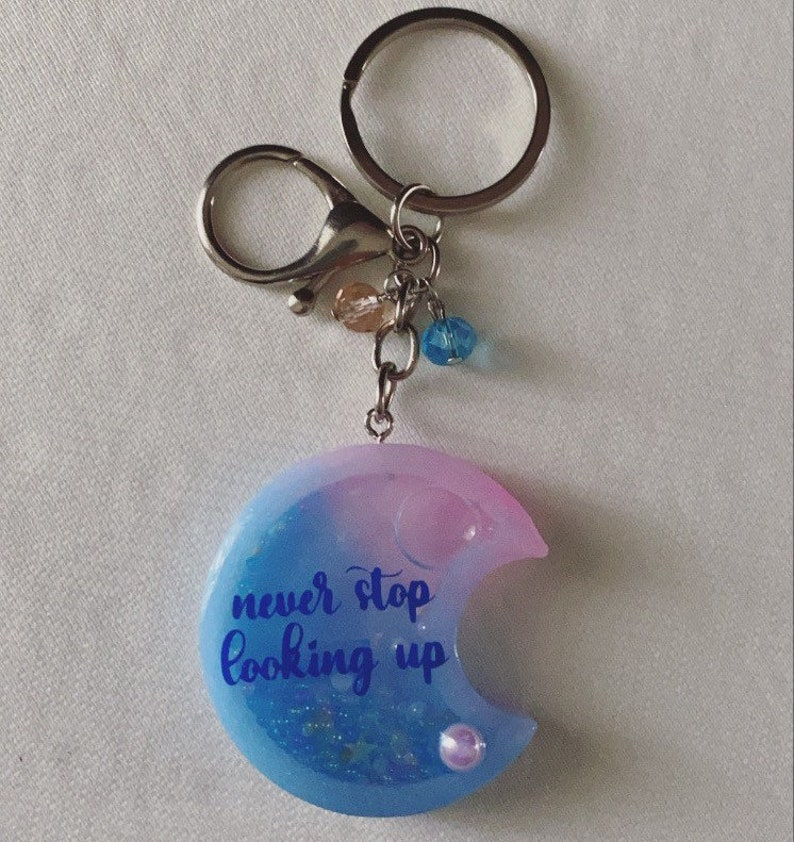 Pink and celestial half moon shaker keychain