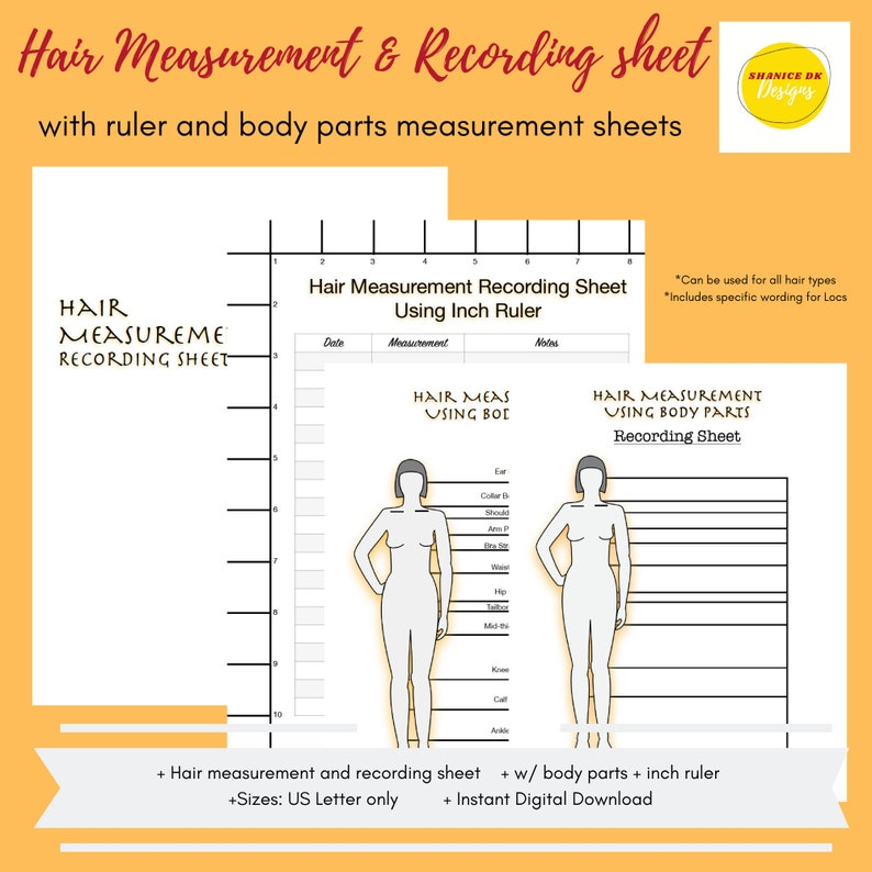 Hair Length Chart  Loc Hair Measurement and Recording Sheet  image 0