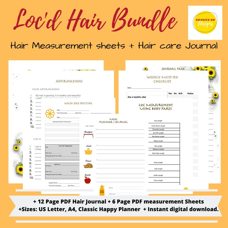 Bundle Dreadlocks Hair Journal  Loc Hair Length Chart and image 0