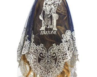 Catholic Veil ,Church Triangular Lace Veil ,Lady Head Covering ,Lace Chapel Shawl