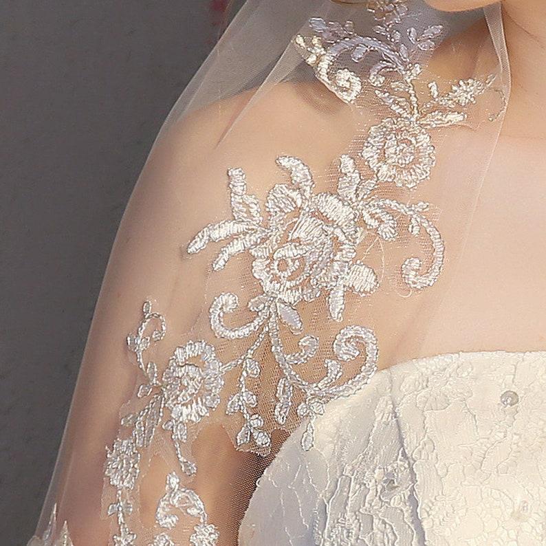 Church Veil Catholic Veil Ivory White Short Style Embroidery Wedding Veil