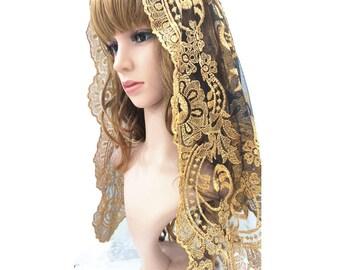 Gold Church Veil,Embroidery Lace Chapel Mantilla ,Catholic Veil ,Lady Head Covering