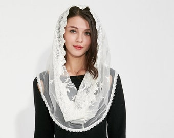 Muslin Infinity Veil Embroidery Head Covering Bridal Shawl Lace Chapel Veil